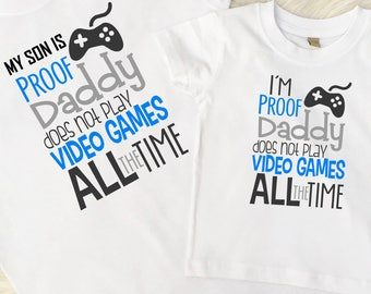 Father and Son Top Set, Gaming T-Shirt, Daddy and Son, Daddy Gift, Fathers Day, UK