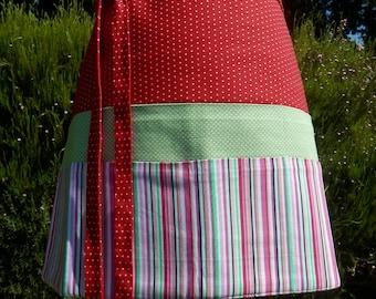 Vendor apron, Crafter apron, Teacher apron, Server apron, Hostress apron, Cafe apron--- Polka Dot and Stripes Utility Apron with 6 Pockets