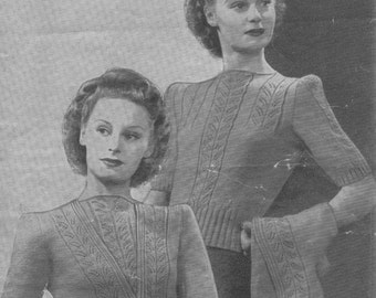 Vintage 1940's Knitting Pattern TWINSET Jumper & Cardigan in 3 ply Weldons 527 pdf download