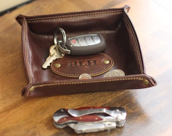 The Monticello Fine Leather Personalized Desk Valet Caddy Tray for Dresser or Office Gift