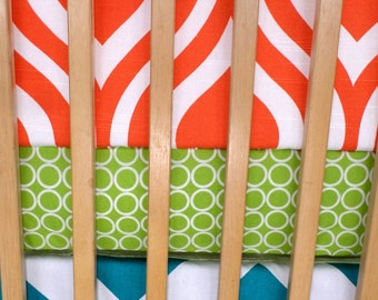 Unique Crib Set in Large Chevron, Modern Waves and Sophisticated Circles. Turquoise Lime Orange *Bumpers Sheet Skirt*  *Modern Crib Bedding*