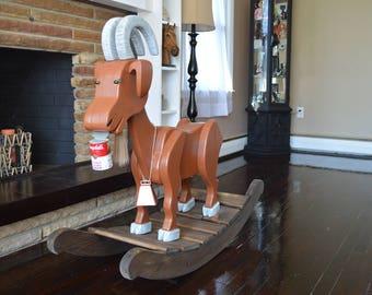 Billy Goats Gruff Rocking Goat / Rocking animal / Rocking Goat / Wooden Rocking Animal / child furniture / rocking toy / rocking farm animal