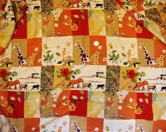 "Vintage Rayon Print Fabric Elephants, Giraffes, Monkeys Abstract African Scenes *  3 Yards X 44"""