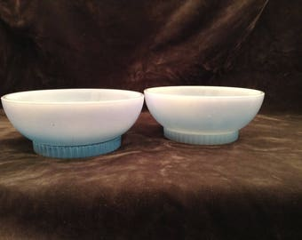Vintage blue milk glass cereal bowl by Fire King