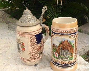 Two Hand Painted GERZ Steins, German Beer Steins