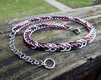 Chainmaille Necklace for Men or Women - Random Pink, Black and Frost White ( Camo )