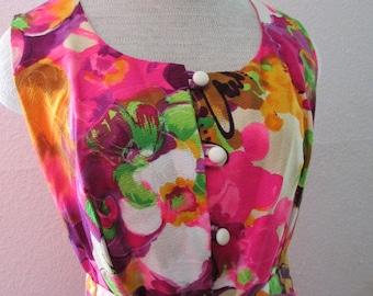 17-0515 Vintage 1970's Hawaiian Print Maxi Dress / Floral Barkcloth Maxi Dress / Long Hawaiian Dress / Cotton Barkcloth /American Vintage