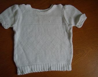 VINTAGE 40/50's, baby, pull/Bras knit cotton, 3 months, made in Alsace/Frrance