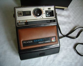 Instant camera, Kodak EK100 Polaroid camera, retro camera, case, original leather
