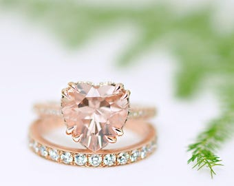 3.65 Ct. Heart Shape Morganite Solitaire Engagement Ring on 14K Rose Gold with Diamonds