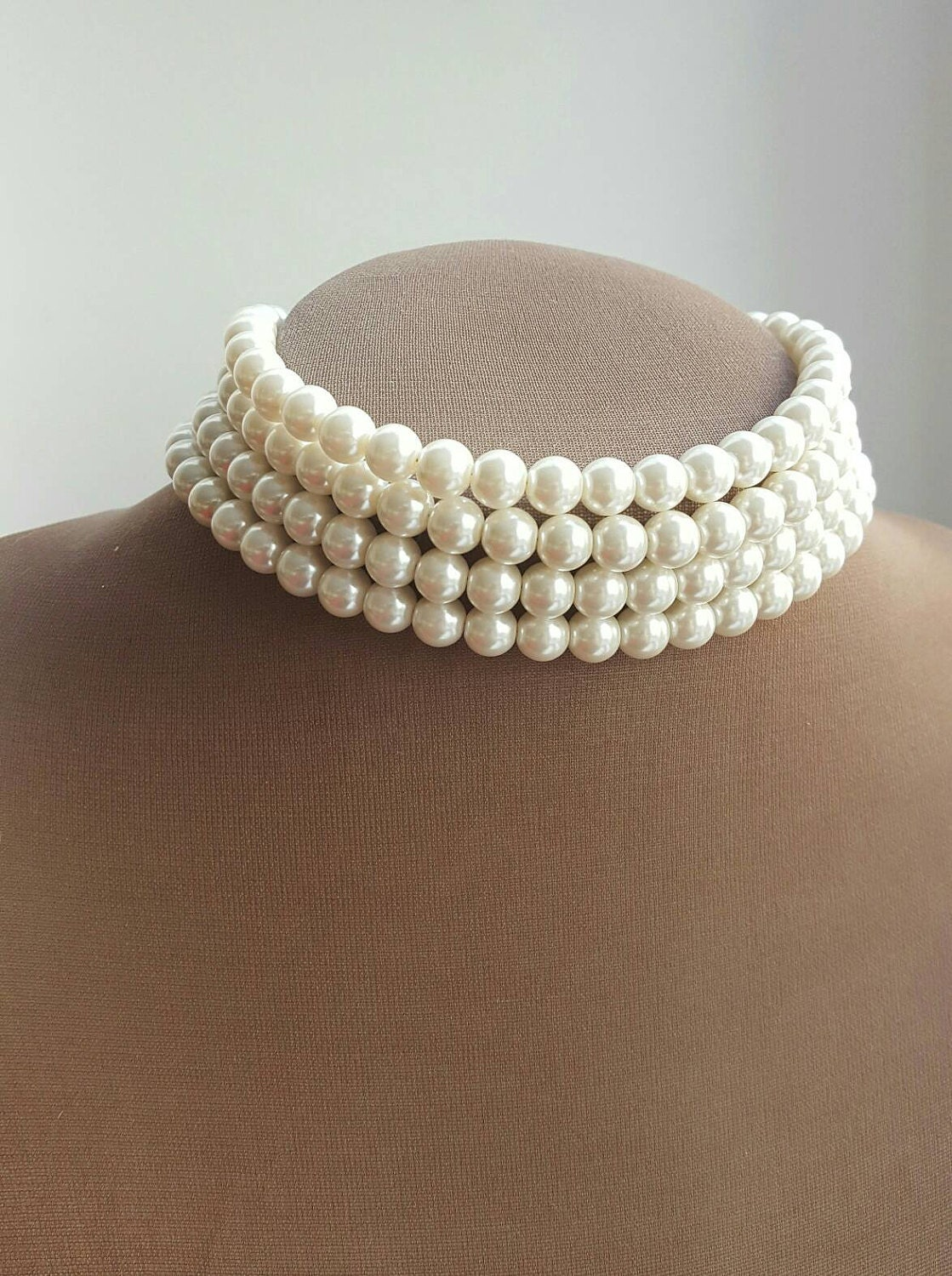 Ivory multilayer pearl choker necklace pearl choker
