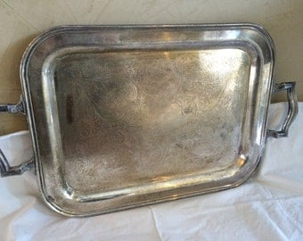 Vintage Sheridan on Copper Silver Serving Tray