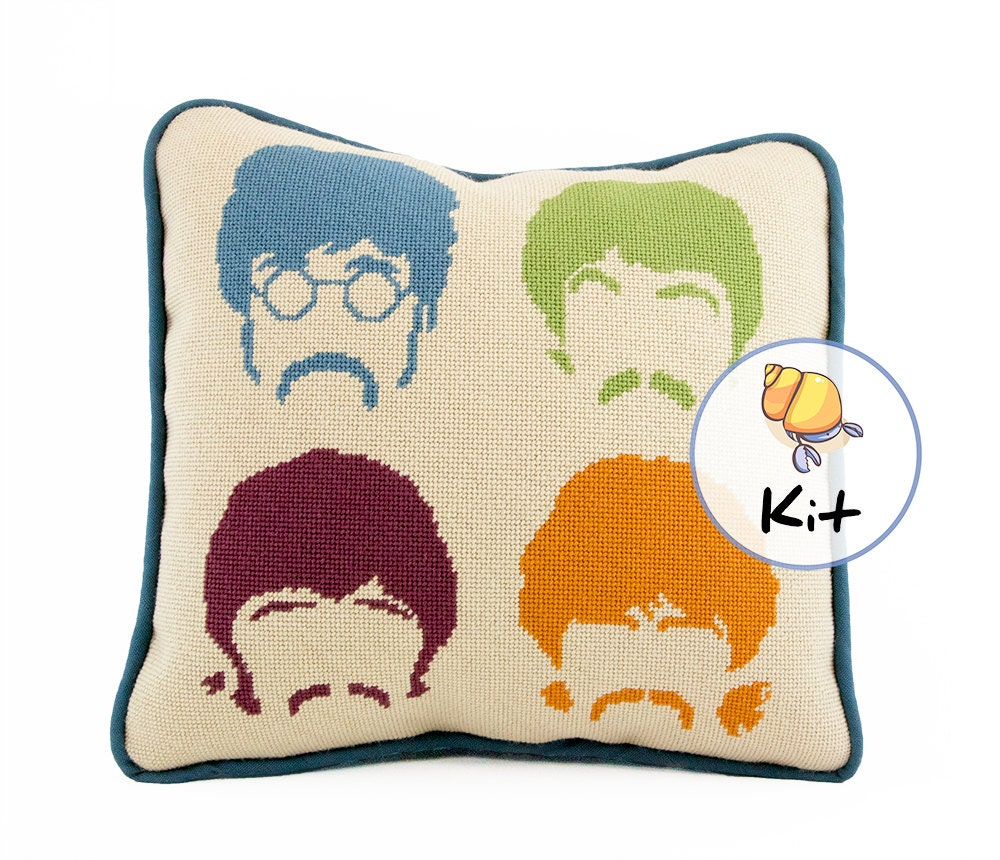 Modern Cross Stitch Pillow Kits : Needlepoint Beatles pillow kit Modern needlepoint kits