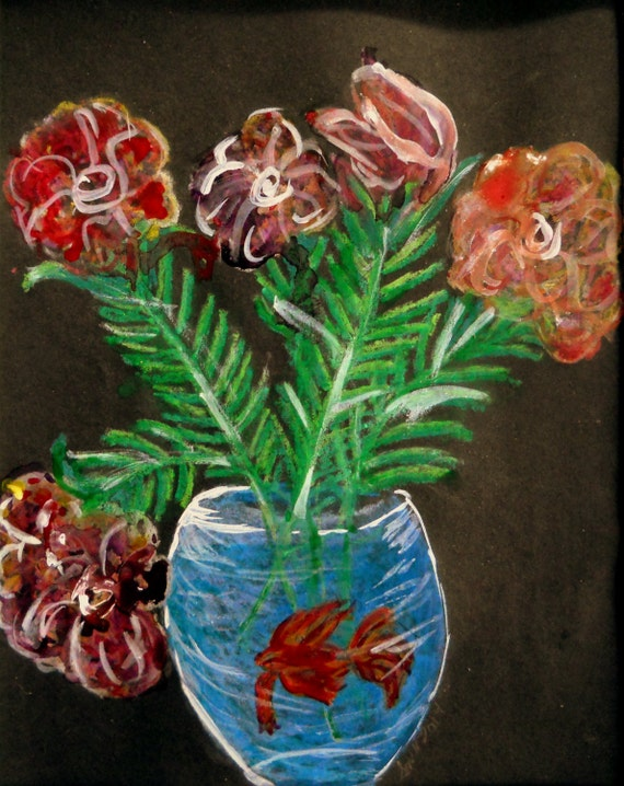 "Oil Pastel & Ink painting, ""Still Life, For Sure!"", on 8 x 10"" black card, by Artist Stacey Torres"