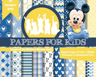 digital papers baby mickey kids invitation background birthday baby shower