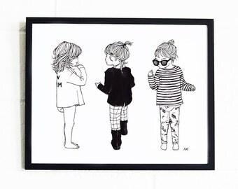 Girl Wall Decor / Girls Room Art / Girls Print / Girls Nursery Art/ Nursery Wall Decor/ Girl Illustration/  Girls Room Wall Decor/ Girl Gift