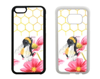 Bee phone case, rubber iPhone 8 7 6 6S Plus, X SE 5S 5C 5 4S, Samsung Galaxy S8 Plus S7 S6 Edge, S5 S4, bumble bee insect bumper cover R303