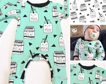 MADE TO ORDER - Baby Romper - Toddler Romper - Milk Romper - Mint Romper - Organic Romper - Milk Baby Clothes - Milk Toddler Clothes