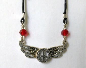 Beautiful Peace Sign and Wings Necklace