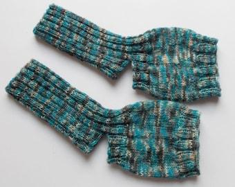 hand-knitted yoga socks, Gr. 37/38/39 (EU),  tourquoise grey
