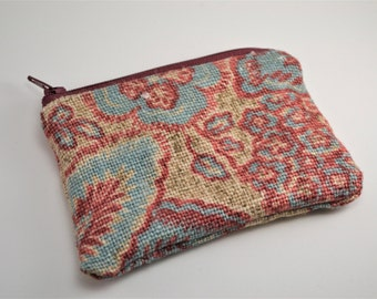 Floral Teal and Maroon Zippered Coin Purse