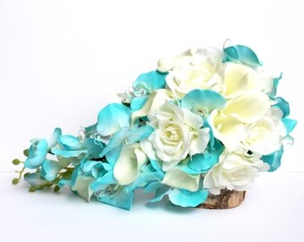 Turquoise Wedding Bouquet , Aqua Blue Wedding Bouquet , Turquoise and Ivory Wedding Boquet , Burlap and Lace , Real to touch and Silk
