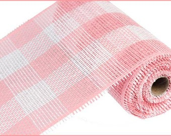 "10""X10yd  Pink/White Woven Check Paper Mesh/Wreath Supplies/Paper Mesh/RR800237"