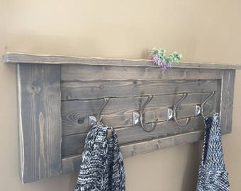 rustic gray wooden coat rack beach house coat rack bathroom shelf rustic towel