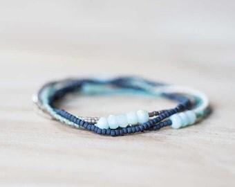 Claspless Beaded Necklace with Peruvian Opal, Multi Wrap Bracelet, Seed Bead Jewelry, Beaded Stretch Bracelet