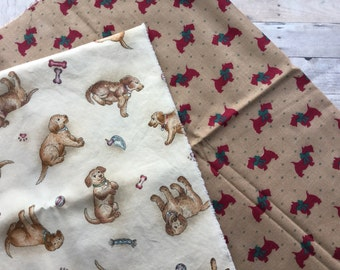 Pair of Novelty Dog Fabric Remnants - Mutts and Scotties