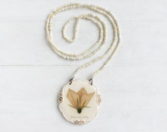Real Flower Necklace With Campanula, Romantic Necklace, Real Flower Jewelry, Real Flower Pendant
