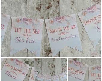 Nautical Seaside Beach  Bunting/Garland Wedding,Decoration,Birthday,Retro Beach, Summer