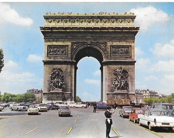 L'Arc de Triomphe, Paris, France, Vintage 1980 Unused Continental Color Postcard