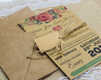 Rustic Kraft Rose Garland Vintage Shabby Chic Wedding Invitation Package  With Kraft Envelopes