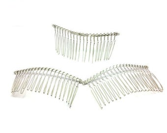 10 Combs for hair silver gray 7.8x3.8cm