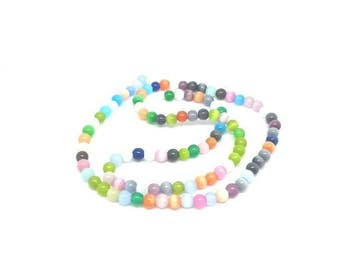 95 cat eye beads multicolor 4mm