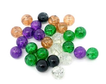 50 beads cracked glass 10mm multicoloured