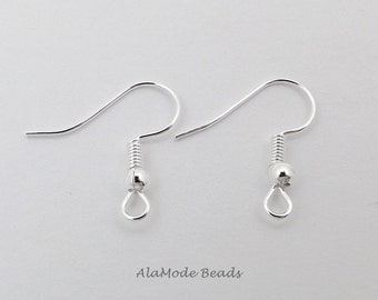Silver Plated Fish Hook Ear Hooks (20 Pair) Ball & Coil Fish Hook Ear Wires