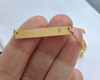 stainless steel  plated necklace,bridesmaids gift,gold bar, initial necklace, bridesmaids necklace, gold necklace, Gold Bar Necklace