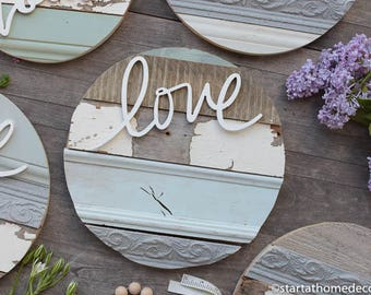 """13"""" Reclaimed Wood Love Round"""