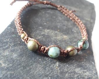 Adjustable macrame, African turquoise stones bracelet