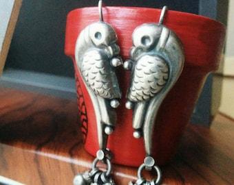 Indian silver parrot earrings