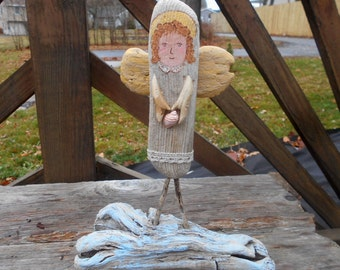 Driftwood Angel with shell
