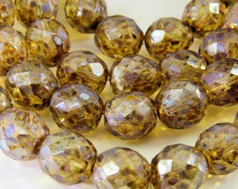 Czech Clear Glass Light Golden Picasso Glaze 8mm Round Faceted Fire Polished 15 Beads PFP8MM007
