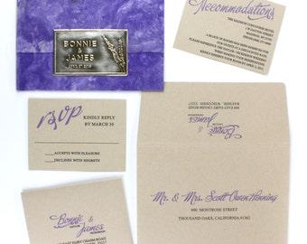 purple invitations wedding invitations lavender wedding botanical invitations herbal invitation lavender