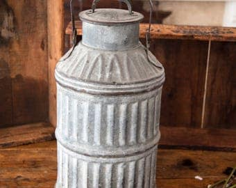 Antique Corrugated Galvanized Metal Milk Canister -  5 Gal  Dairy Can with Lid - Country or Farmhouse Decor - Free Shipping Within the USA