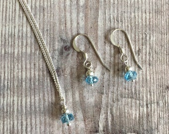 Minimalist Blue Topaz and Sterling Silver  Necklace & Earring Set