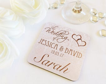 Personalised Wedding Table Place Names, Favours, Coasters