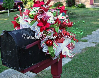 Christmas Mailbox Swag, Mailbox Swag, deco mesh mailbox topper,  Home Decor, mailbox cover, custom made, Holiday Decorations