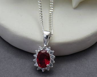 Ruby Necklace, Sterling Silver Ruby Necklace, Ruby Crystal Pendant, July Birthstone Gift, Bridesmaid Necklace
